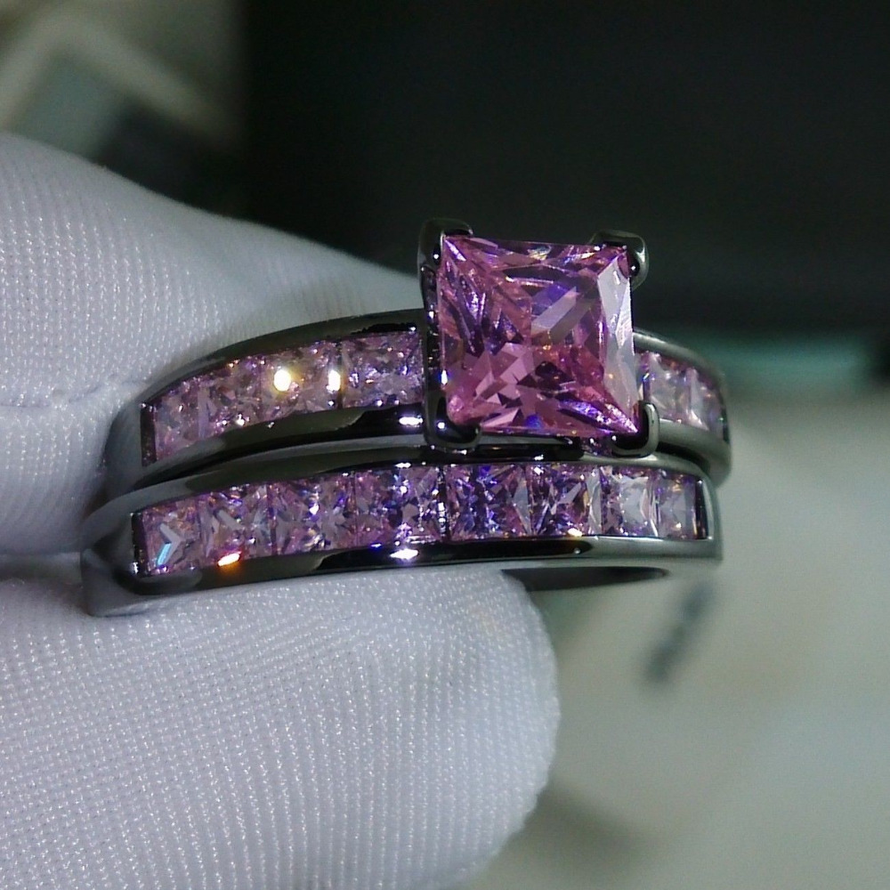 black and purple wedding rings black gold wedding ring set purple diamond wedding ring set - Pink And Black Wedding Ring Set