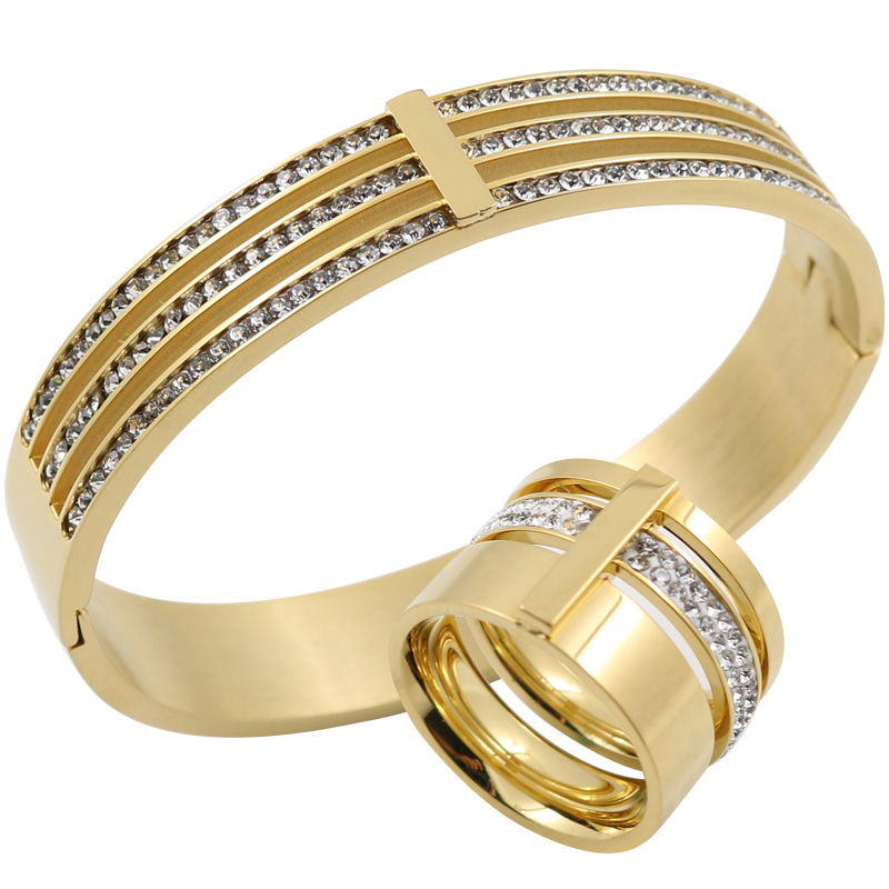 gold color Zircon Crystal Titanium Stainless Steel Rings Bangles Wedding Jewelry Set Three Layers Beauty anillos