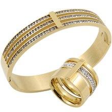 Or couleur zircon cristal titanium anneaux en acier inoxydable et bracelets ensemble de bijoux de mariage trois couches beauté anillos femelle