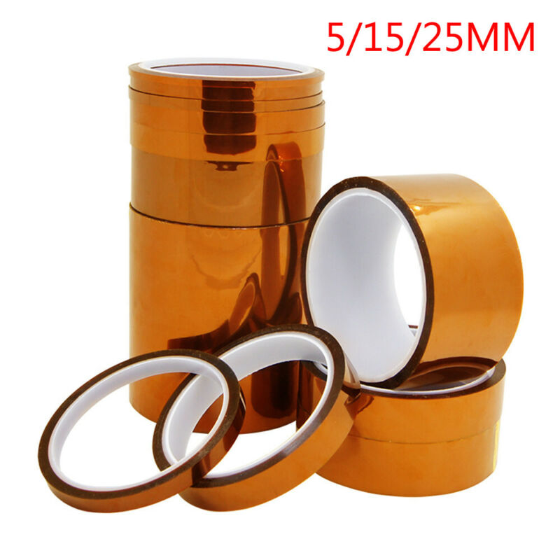 2019 5/15/15mm 30M 100ft Kapton Tape BGA Adhesive High Temperature Heat Resistant Polyimide Gold