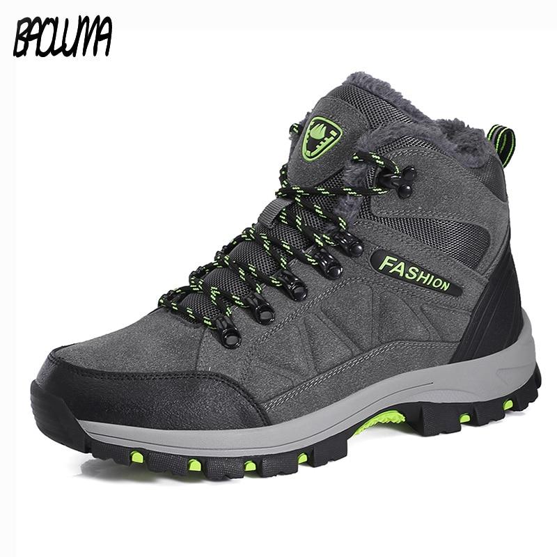 Plus Size Men Boots Winter Warm Snow Boots With Fur Men Ankle Boots Work Shoes Men Tactical Boots Waterproof Rubber Ankle Shoes все цены