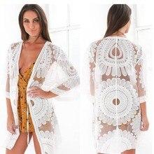 Сексуальный белый комбинезон цветочной вышивкой шифон пляж прикрыть солнце подсолнечника Beachdress летнее платье купальный костюм комбинезон