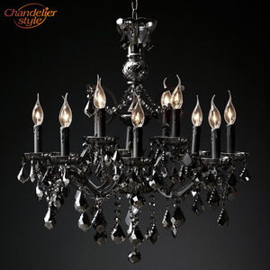Image 4 - 19th C. Rococo Iron & Crystal Chandelier Lighting Modern Retro LED Chandeliers Pendant Lamp Hanging Light for Living Dining Room