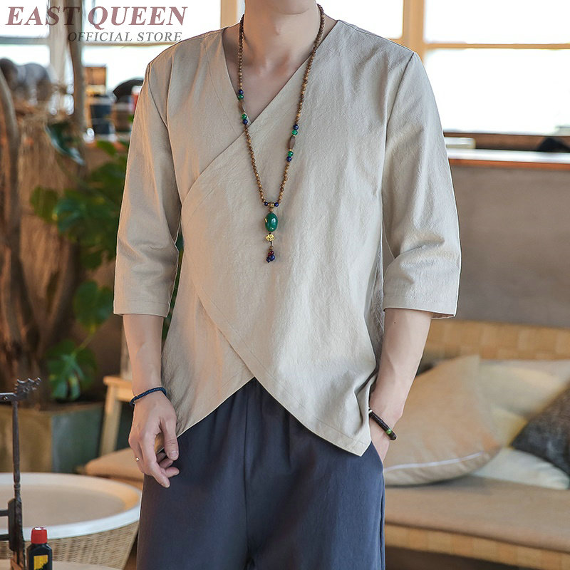 Summer tops 2018 traditional chinese clothing for men long sleeves casual loose shirts tops chinese market online AA3817 Y A