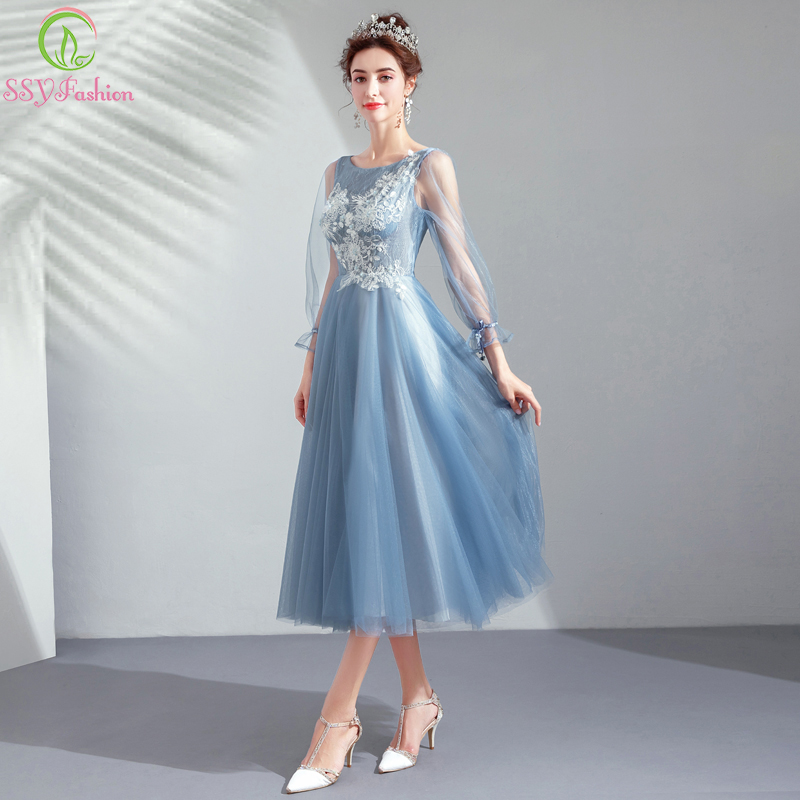 SSYFashion New   Cocktail     Dress   Banquet Elegant Grey Blue Long Sleeves Lace Appliques Tea-length Formal Party Gowns Robe De Soiree