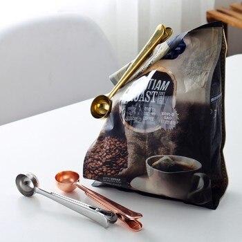 Etya 1 Pc Multifunctionele Roestvrij Staal Voedsel Lepel Melk Thee Gemalen Koffie Scoops Met Zak Clip Afdichting Poeder Drinkware Gereedschap