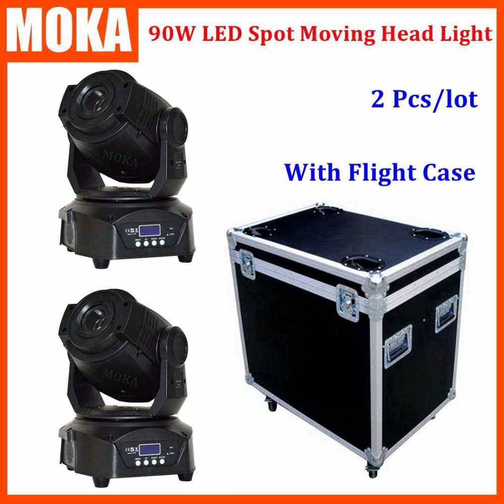 2PCS/LOT Shipping Flight Case DMX 90W Spot Led Rainbow Effect Stage Projector LCD Display Beam Angle 14 Degree Light