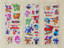 Super wings Cartoon sticker 3D Poly stickers toy Transformation Toys kids girl toys home sticker girl gift Xmas decorations