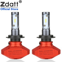 Zdatt 2Pcs Fanless Csp Auto Headlights 80W 8000LM H7 Led Bulb Car Led Light 12V Super