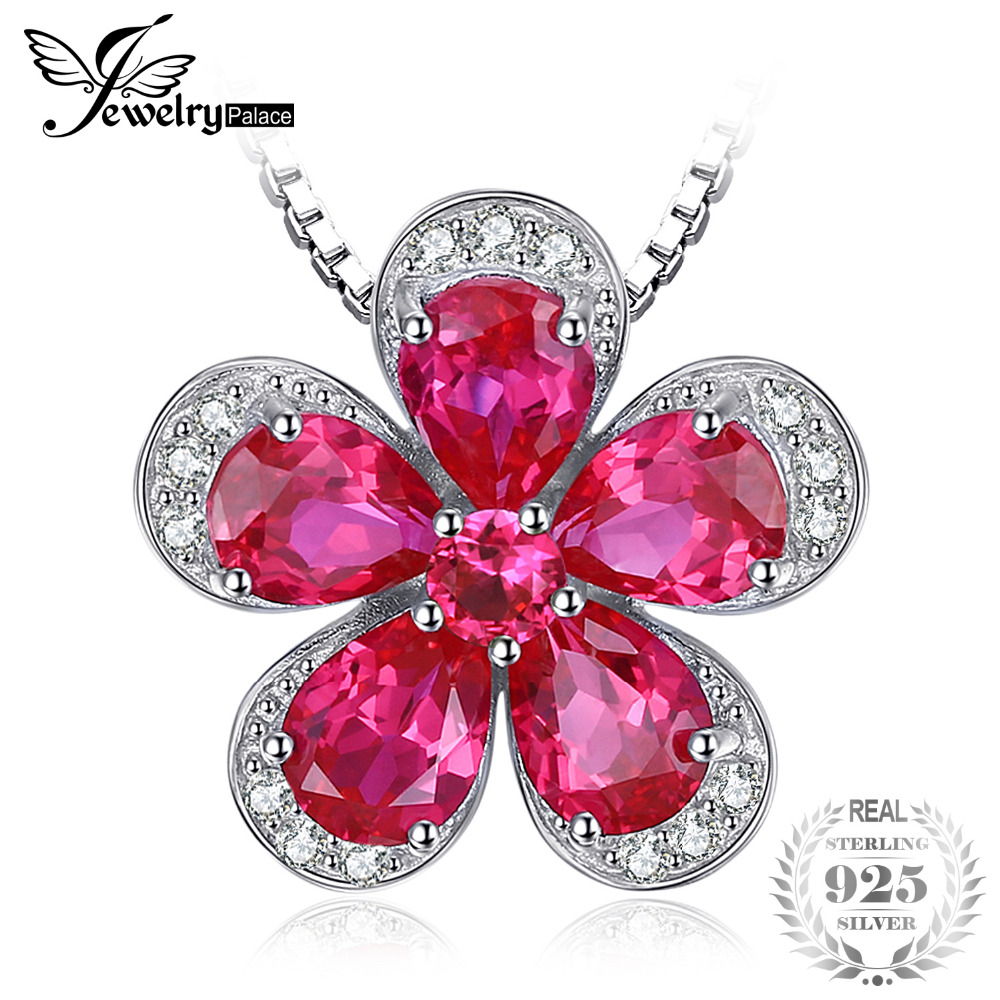 JewelryPalace Flower 5ct Created Red Ruby Pendant 925 Sterling Silver  Fashion Pendant Jewelry for Women Not Include the ChainJewelryPalace Flower 5ct Created Red Ruby Pendant 925 Sterling Silver  Fashion Pendant Jewelry for Women Not Include the Chain
