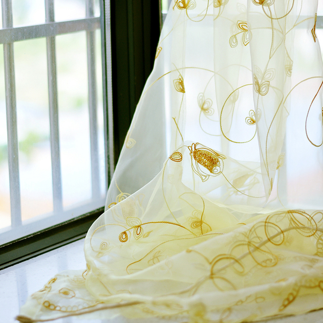 Oro Tende Floral Sheer Voile Finestra Europeo Modern Living Room Camera Da Letto Curtians Tulle Viola Cortinas Rideaux T & 256 #20