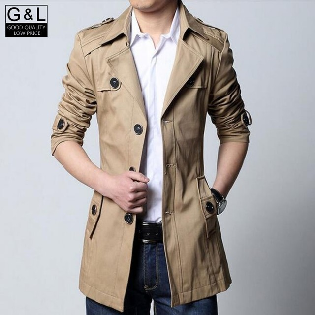 High Quality Men Breasted Trench Coat Boys Cotton Outerwear Casual Coat Mens Jackets Windbreaker Mens Trench Coat With Sashes