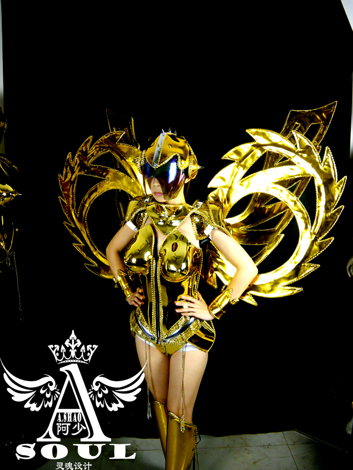Модный подиумный показ Виктории модель золотое покрытие танцевальное платье крылья костюмы бар KTV сценическая одежда Вечерние принадлежно