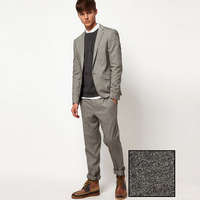 2018 latest coat pants designs grey tweed men suits fall winter jacket casual man tuxedos street business prom wedding 2 pieces