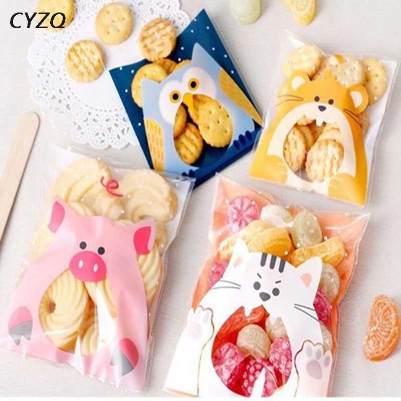 50 Uds. Bolsas de regalo de dibujos animados de 7cm y 10 cm, bolsas de plástico autoadhesivas para embalaje de galletas para boda, bolsas de plástico para galletas, dulces de cumpleaños y pasteles