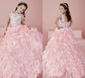 2017 Pink Flower Girl Dresses Crystal Beading Ball Gown Organza Square Collar Floor Length Girl's Pageant Dresses