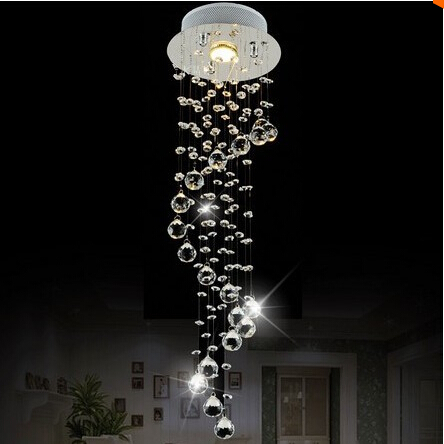 Modern Clear Waterford Spiral Sphere LED Lustre Crystal Chandelier Ceiling Lamp Home Decor Suspension Pendant Lamp Fixture Light