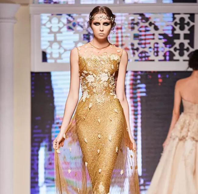 Gold Sequined Mermaid lace Evening dress 2017 michael korns Neckline 3D Appliques Floor Length Evening Party Gowns prom dresses