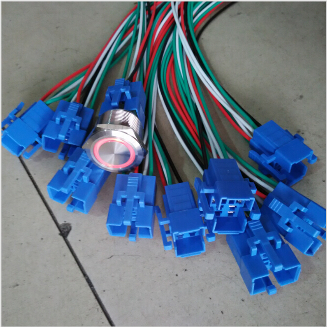 100 pieces 22mm 12V ring LED Resettable Metal Switch with harness connectors