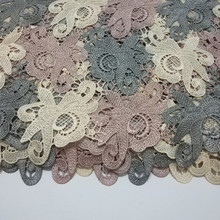 Hight Quality Embroidery lace fabric Water Soluble African lace Polyester Venice Reflective Lace Fabrics For wedding dress