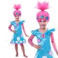 2017 Trolls Padrão Trajes Crianças Trajes Para Meninas Crianças Fantasias de Carnaval Festa Vestido Da Menina de Verão Roupas Trolls de Papoula