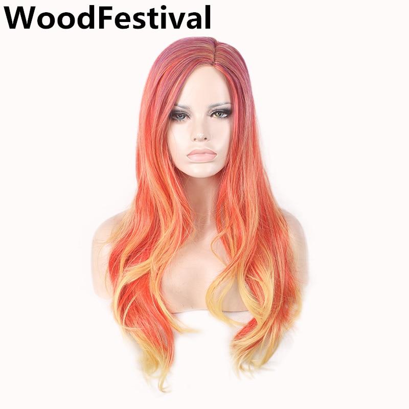 WoodFestivalmixed գունավոր wigs կանանց համար գանգուր wigs սինթետիկ մազերի ջերմության դիմացկուն սև շագանակագույն ombre կեղծամ սինթետիկ կոսպլեյի կեղծամ երկար