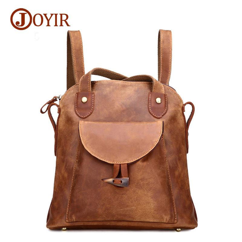 Joyir famous brand <font><b>backpack</b></font> genuine leather bags women <font><b>backpacks</b></font> solid vintage girls school bags travel <font><b>backpacks</b></font> 3011