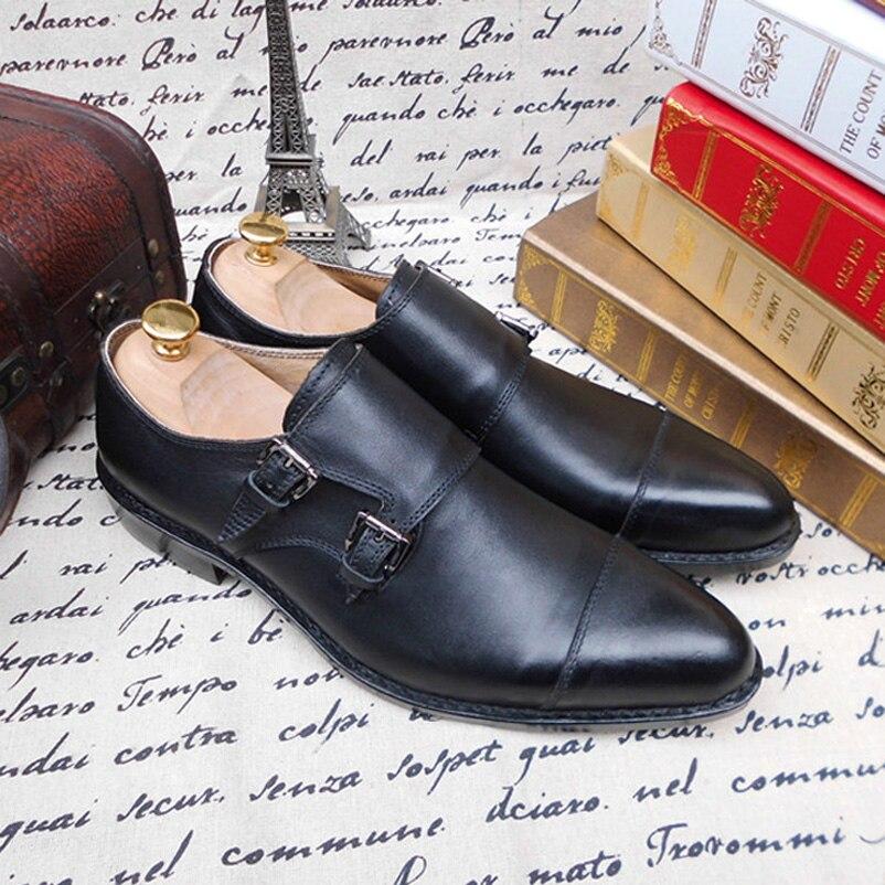 Preto Shoes Monge Vestido Maloneda Goodyear Alta Mão Duplo Sobre Welted Fivelas Qualidade A Genuíno Couro Formal Puro Com À Deslizar cinta Feitos De BqFxBZO