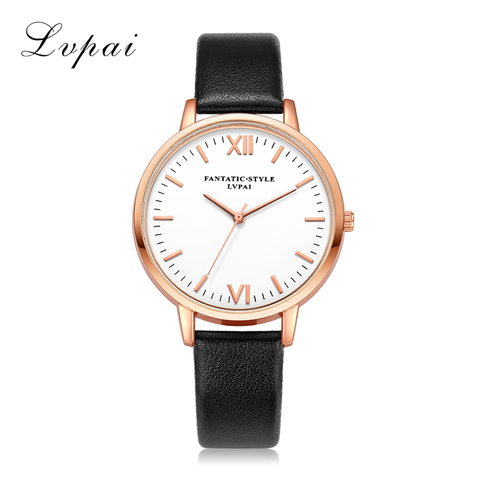 New Rose Gold Roman Numerals Women Leather Watches  Brand Luxury Round Fashion Popular Wristwatch Female Dress Quartz Watch
