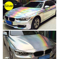Hot Sale 1.49x20M 4.8x65FT Laser Chrome Silver Holographic Rainbow Car Wrap Vinyl Both Black and Silver Color