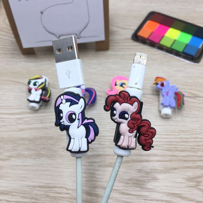 100pcs Cartoon USB Charger Cable Earphone Cable Protector For iphone 5 5s 6 7 Headphone Cable Winder Saver Data Line Protection