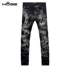 MOGE men print slim jean casual pantacourt homme jeans pantalon biker cremallera marque de luxe