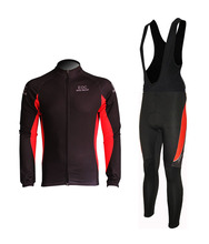 New Men's Fleece Thermal Cycling Long Sleeve Jersey+Bib Tights Bike Wear Bicycle Kits 7 Color