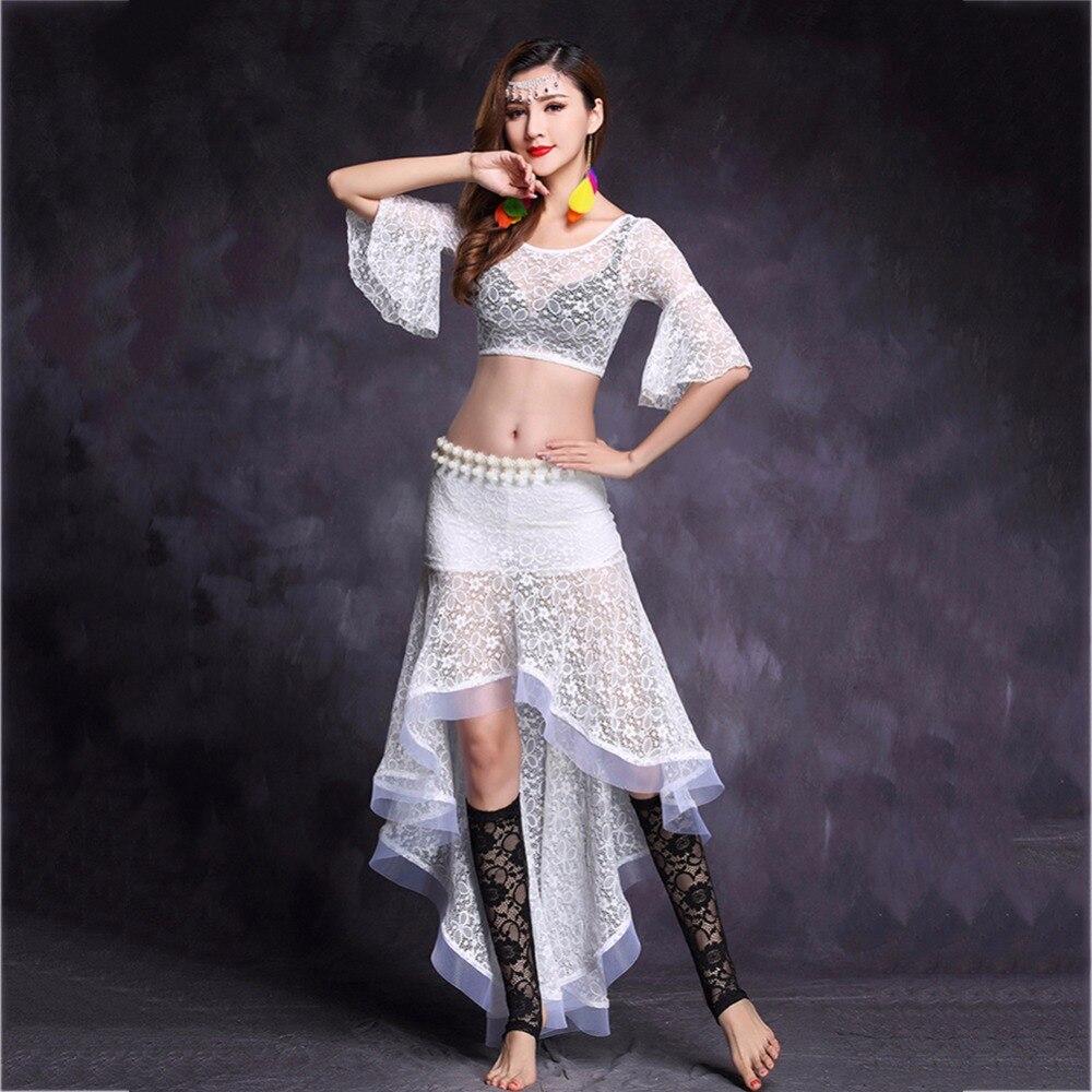Costumes de danse du ventre économique pour dames 4 hauts de couleur avec jupe 2 pièces ensemble femmes Western faveur indien Discount Stage Fashion11046