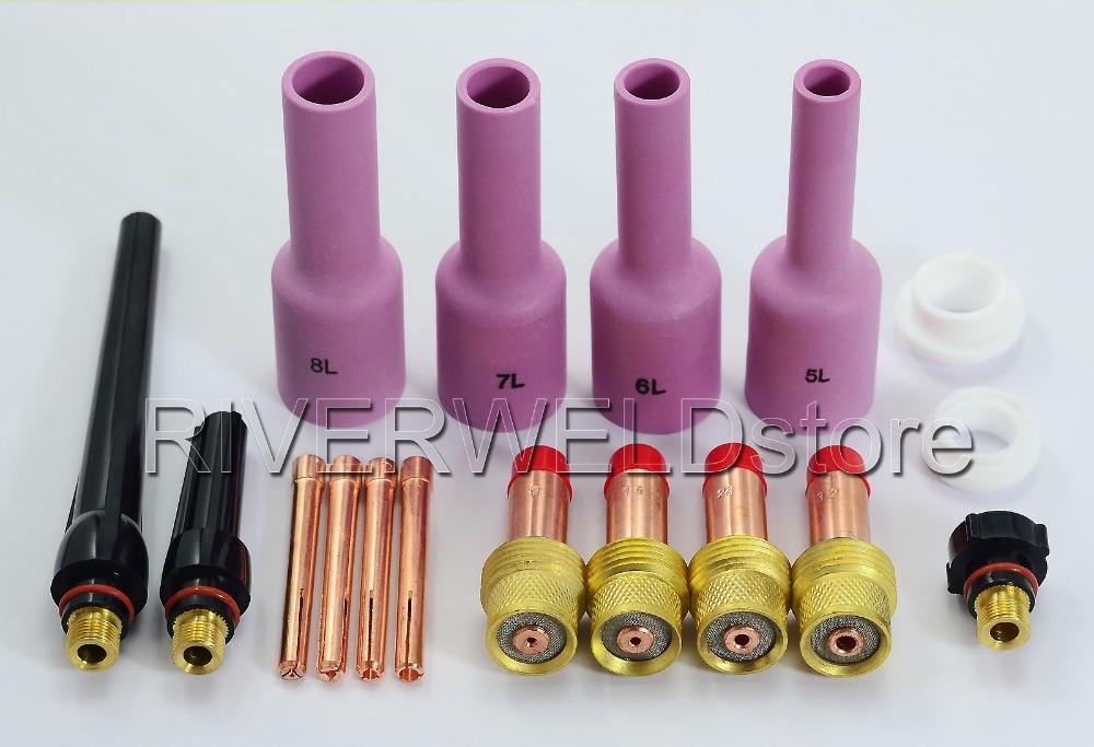 TIG газовый объектив Комплект Длинные Алюминиевые газовые линзы насадка задние крышки расходные материалы подходит TIG сварочный фонарь SR PTA DB WP-17 18 26 серии, 17 шт