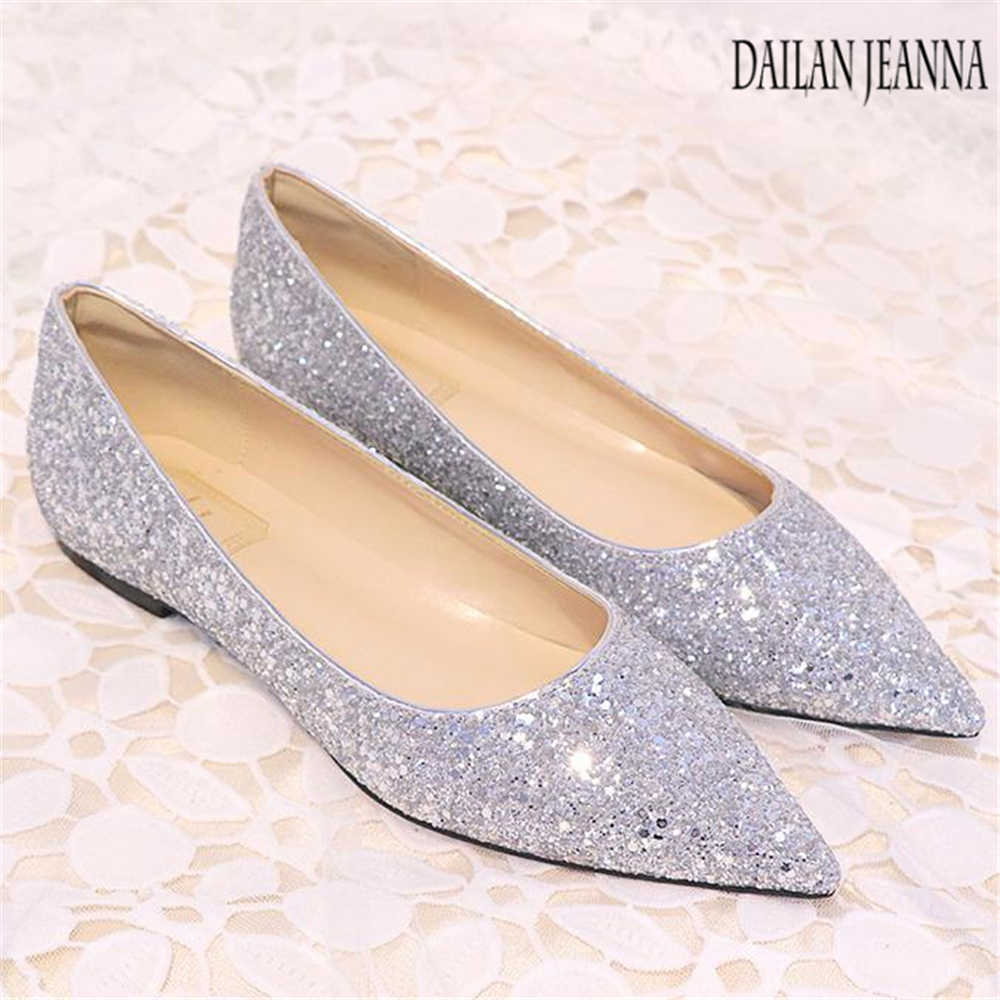 ... New wedding sequins flat Women s shoes female pointed single flat and shallow  gold pink brides bridesmaids ... abae6e14f514