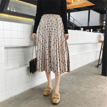 2018 New Autumn Winter Skirts Womens Fashion Velvet A-Line Pleated Skirt Dot Gorgeous Female Casual Elastic Waist Midi Skirts