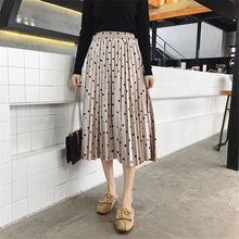 2019 summer autumn Skirts Women Fashion Velvet A-Line Pleated Dot Gorgeous Female Casual Elastic Waist Midi Skirts streetwear(China)