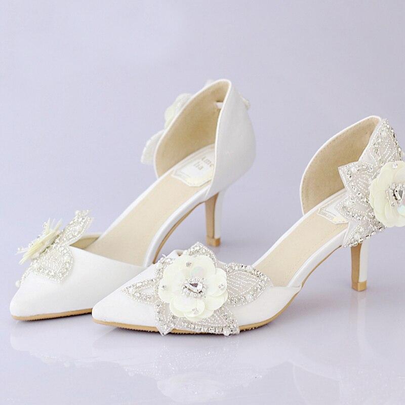 White Satin Bridal Dress Shoes Pointed Toe Glitter Flower Wedding