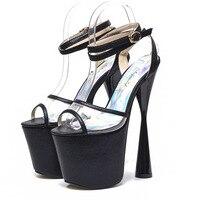Extreme High Heels 19cm Women Sandals Peep Toe Transparent Gold Party Wedding Shoes Ankle Strap Platform Sandals Size 34 43