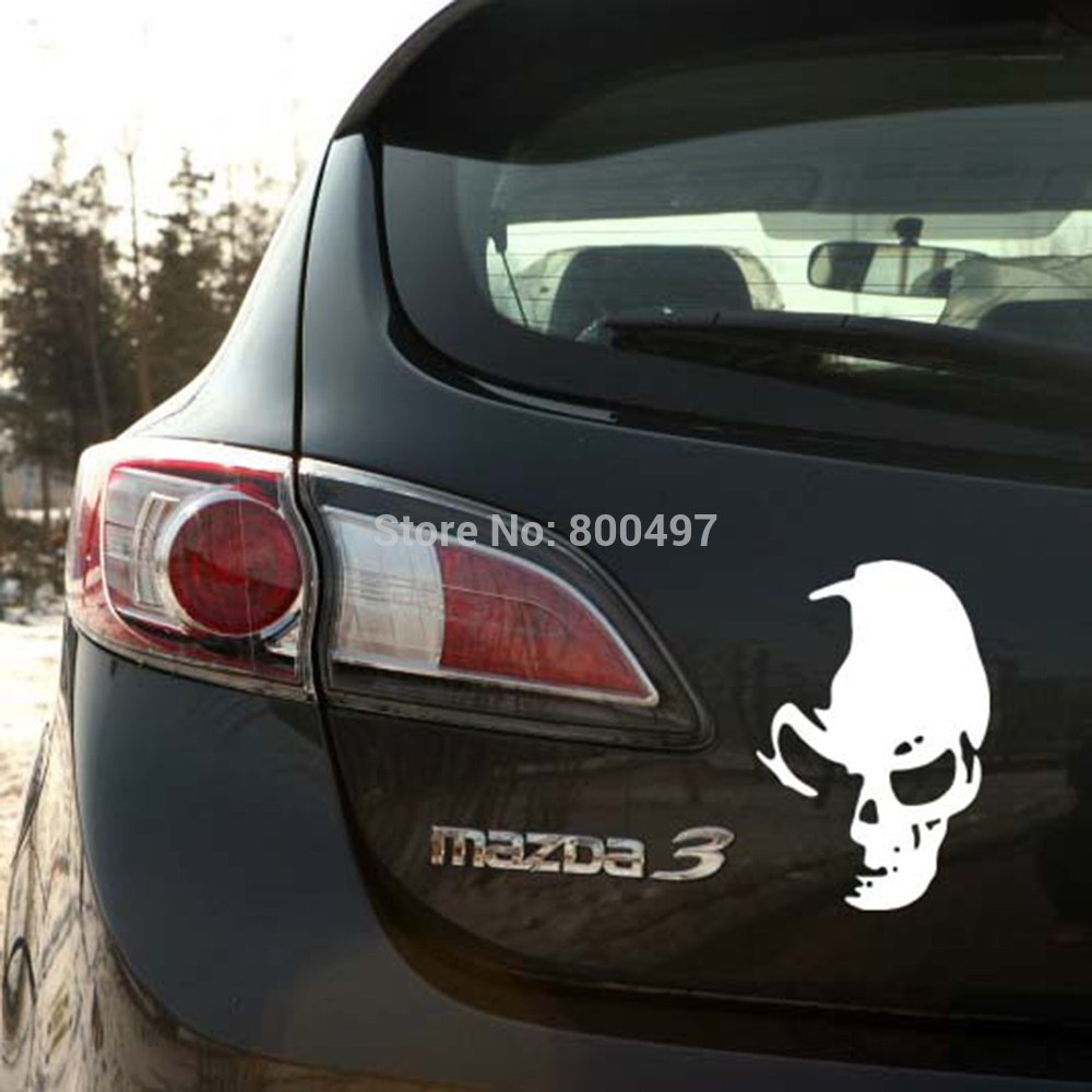 Funny skull car stickers ghost rider car decal for toyota renault chevrolet volkswagen tesla opel hyundai kia lada