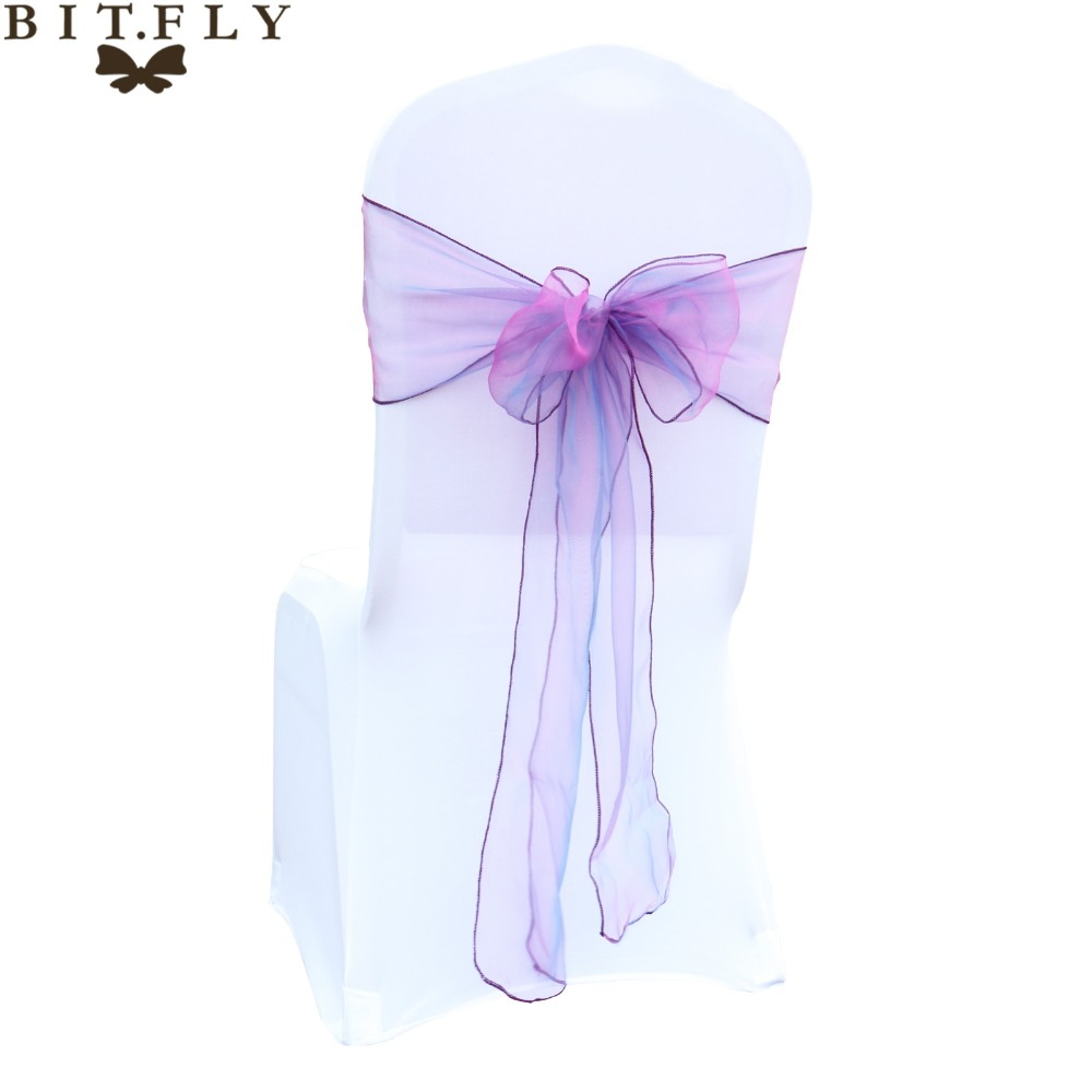 100 Pieces Dark Coral Organza Chair Cover Sashes For Party Banquet Decor Bow Wedding Party Decorations