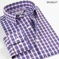 Inteligente Cinco Hombres de la Camisa 2016 Del Otoño Del Verano Patrones Plaid Manga Larga de Algodón Slim Fit Camisa de Los Hombres Marca de Ropa chemise