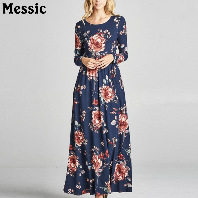 Messic Vintage Floral Womens Dresses 2018 Autumn Long Sleeve Midi Beach Dress Femme Elegant Vestidos Round Neck Casual Knitted dark blue round neck plaid womens long sleeve dress