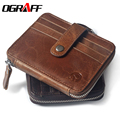 OGRAFF Genuine leather credit card holder short wallets men famous brands zipper mini wallets card holder purses coin purse 2017