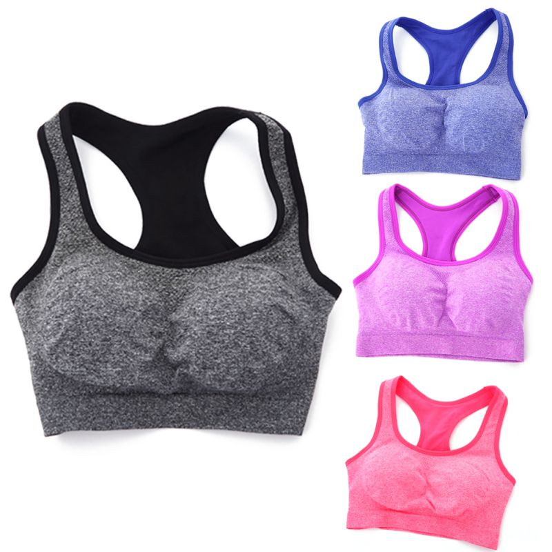Women Seamless Racerback Padded Bras Fitness Stretch Workout   Tank     Tops
