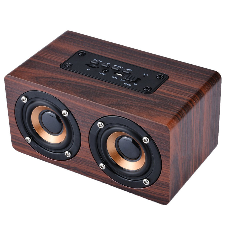 Portable Mini Retro Wireless Bluetooth Speaker Wood With MIC HIFI Music Center Column Sound box for Phone Computer PC Subwoofer