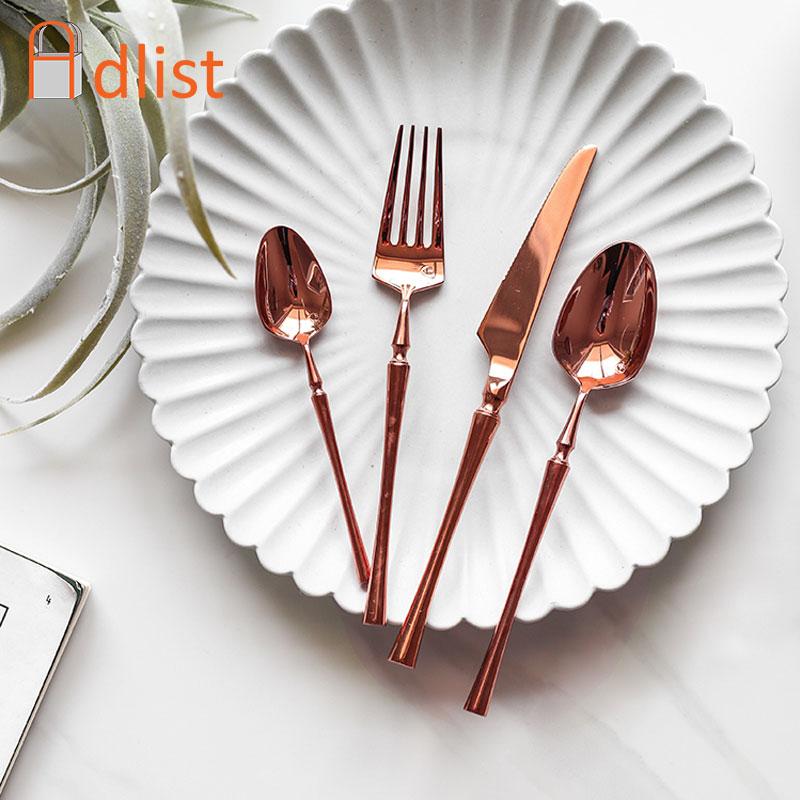 4pcs Set Rose Gold Dinnerware Set Dinner Knife Fork