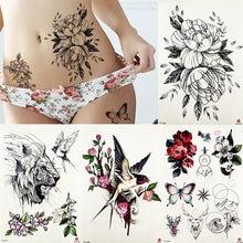 bcc9e0fd2 FANRUI Peony Flower Blossom Temporary Tattoo Sticker Rose Saturna Flora Body  Art Arm Waist Sexy Tattoos Butterfly Fake Tatoo