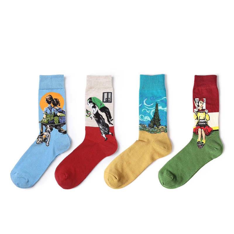 4Pairs Men Socks Autumn Winter Retro Art Oil Painting Fashion Happy Funny Cotton Socks Casual Calcetines Comfortable Meiasa